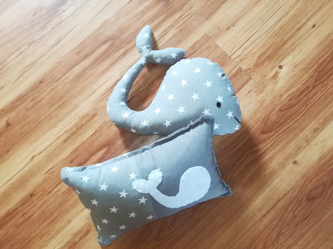 Grey Starry Whale Cushion Duo Themed Decor Cushions