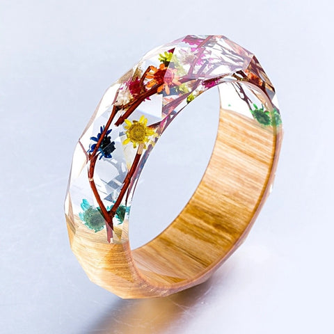 Chrysanthemum & Wood Resin Bangle