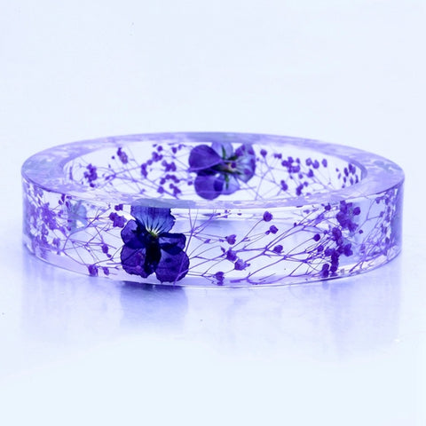 Purple Botanical Resin Bangle