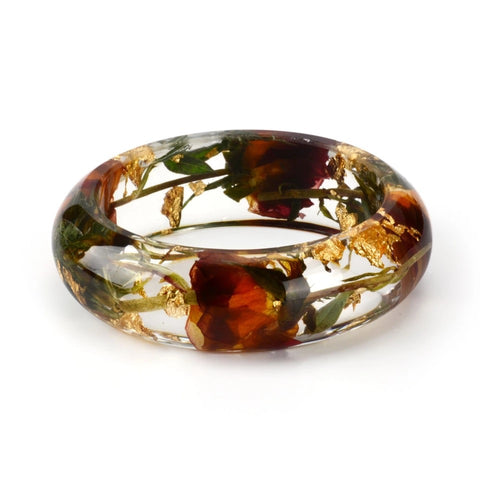 Rose & Gold Leaf Resin Bangle