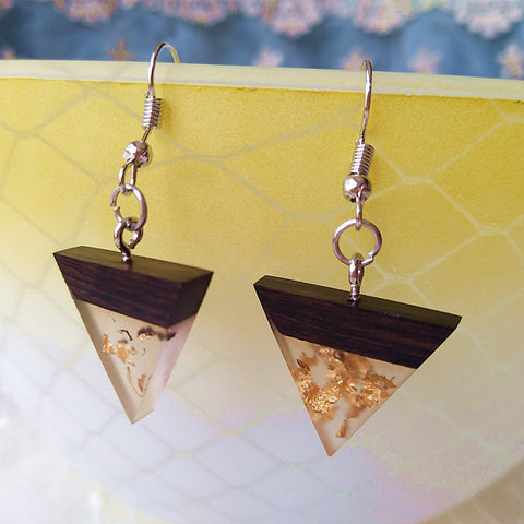 Gold Flake, Wood & Opaque Resin Triangle Earrings