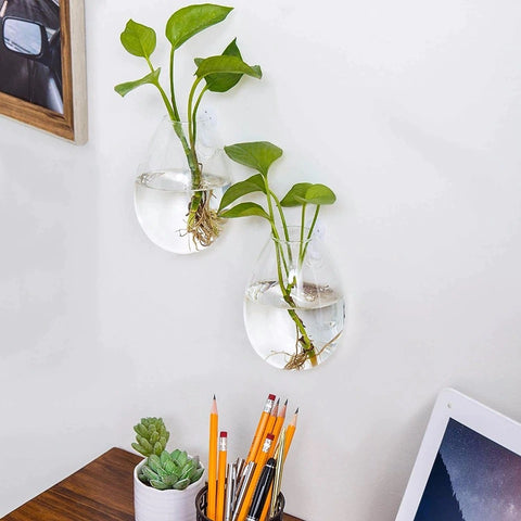 2-Pc Set of Wall Hanging Glass Vase Planters