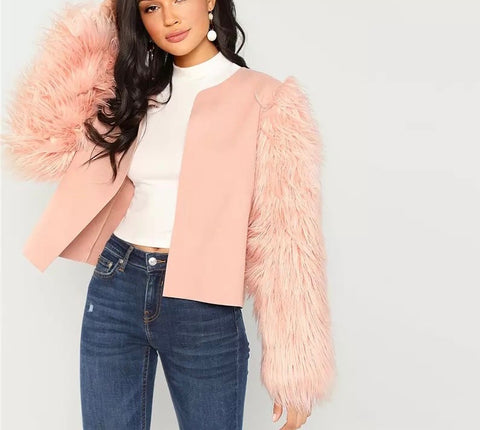 Faux Fur Sleeve Round Neck Jacket