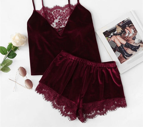 2-Piece Velvet Cami & Shorts Pyjamas (2 colour choices)