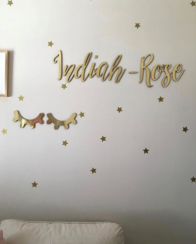 Gold Sleepy Eyes Eyelash Wall Decor
