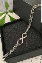 Infinity Bracelet Double Chain in 925 Sterling Silver