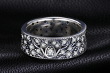 Vintage Sterling Silver 925 Flower Detail Pave Setting Band Ring
