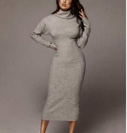 Elegant OL Knitted Turtleneck Mid Calf Sweater Dress