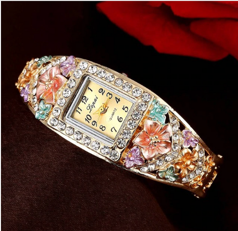 Flower and Chrystal Bracelet Watch Spring Medley