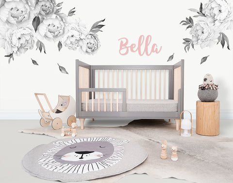 Greyscale Falling For Poenies Reusable Couture Wall Decals