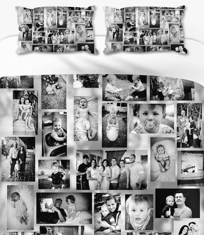 Memory Collage Black & White Personalised Photo Duvet Set
