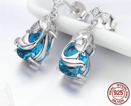 925 Sterling Silver Mermaids Missing Legend Drop Earrings