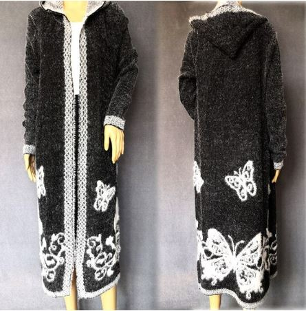 Hooded Knitted Mohair Midi Cardigan
