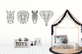Geometric Rhino Laser Cut Wood Wall Decor