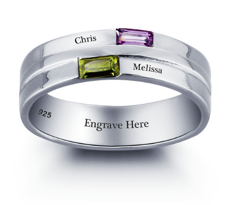 Sterling Silver  Ring Personalised with Engraving and Rectangular Birthstones