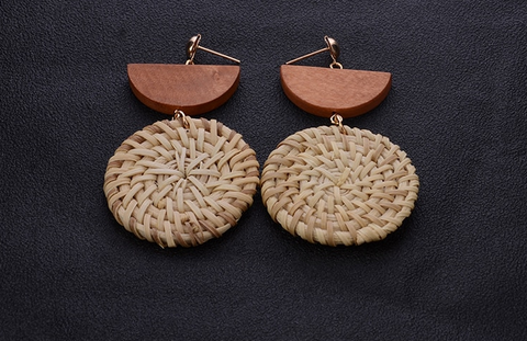 Wood and Straw Weave Round Earrings (2 colour options)