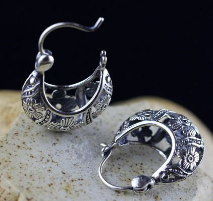 Tibetan Open Flower Basket Design S925 Sterling Silver Earrings