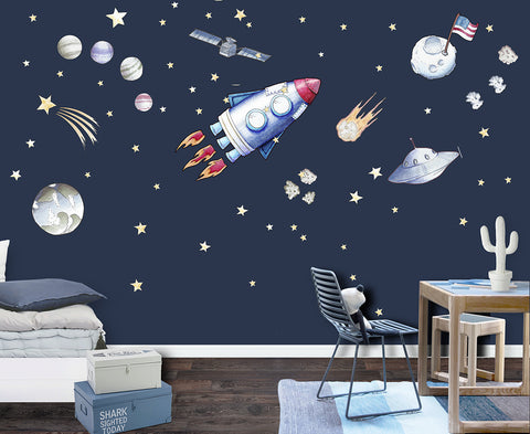 Space Age Reusable Couture Wall Decals