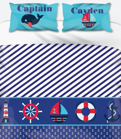 Captain Blue Personalised Name Duvet Set