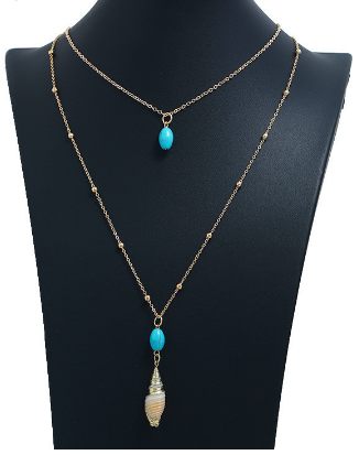 Gold, Turquoise Bead & Conch Shell Pendant Necklace