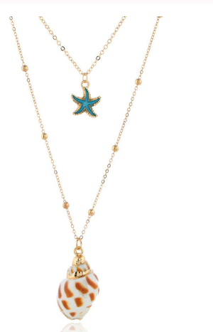 Gold, Blue Enamel Star Fish & Conch Shell Pendant Necklace