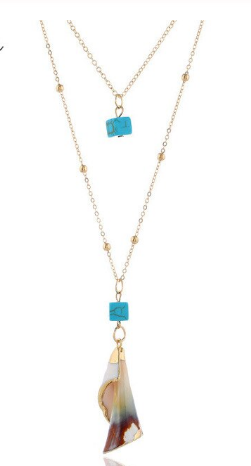 Gold Turquoise & Geometric Conch Shell Pendant Necklace