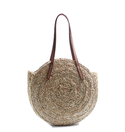 Natural Hand-Woven Round Straw Beach Tote Bag