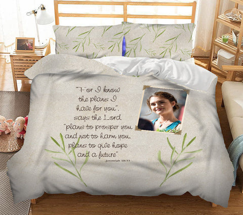 The Plans I Have Personalised Photo Duvet Set