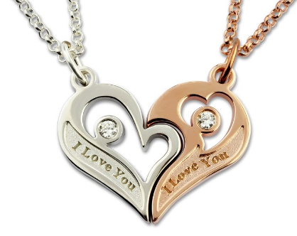 Personalised Unisex Sterling Silver Two Piece Two Tone Heart Necklace
