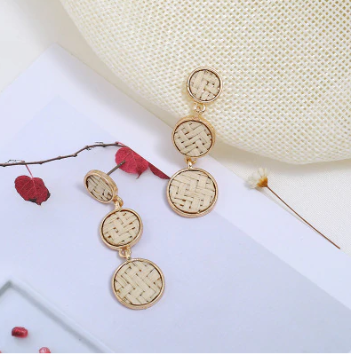 Drop Earrings with Woven Inset (2 colour choices)