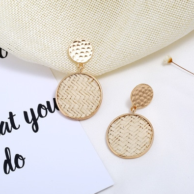 Metallic Round Earrings with Woven Insets (2 colour choices)