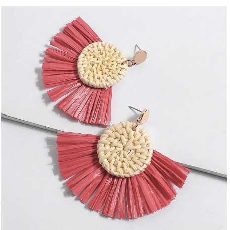 Woven Rafia and Straw Fan Earrings (11 colour options)