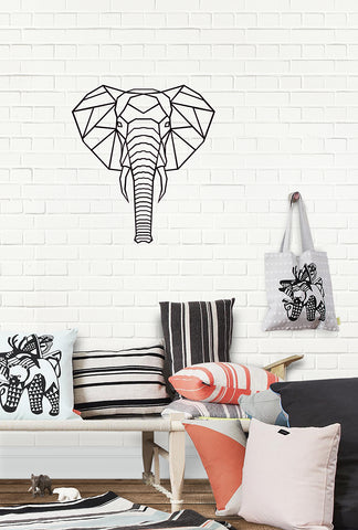 Geometric Elephant Laser Cut Wood Wall Decor