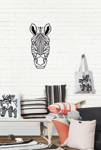 Geometric Zebra Laser Cut Wood Wall Decor