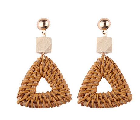 Handmade Wood and Rattan Weave Earrings (2 Style Choices)