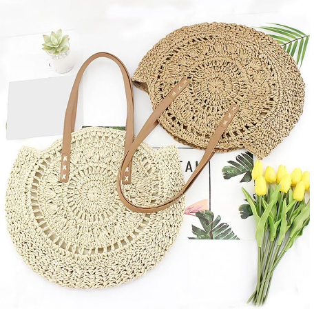 Natural Hand-Woven Round Straw Tote/Beach Bag (Available in 2 Colours)