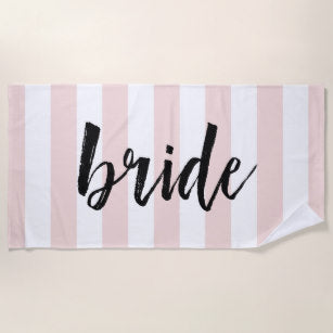 Bride with Pink & White Stripes Beach Towel