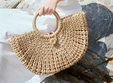 Half Moon Woven Straw and Rope Hand Bag