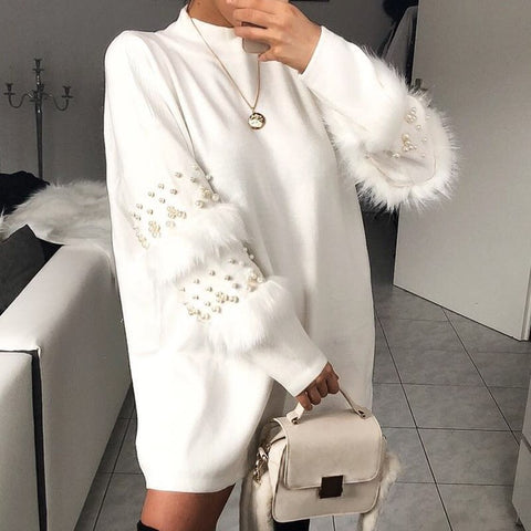 Pearl Faux Fur Jumper (3 colour choices)