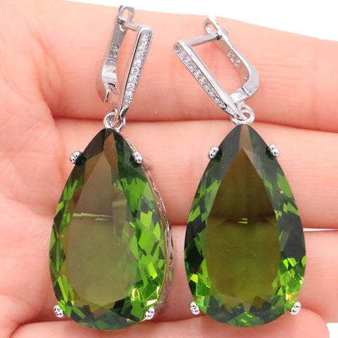 Natural Peridot and CZ Sterling Silver Drop Earrings