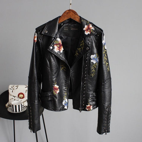 Embroidered Faux Leather Jacket (2 colour choices)