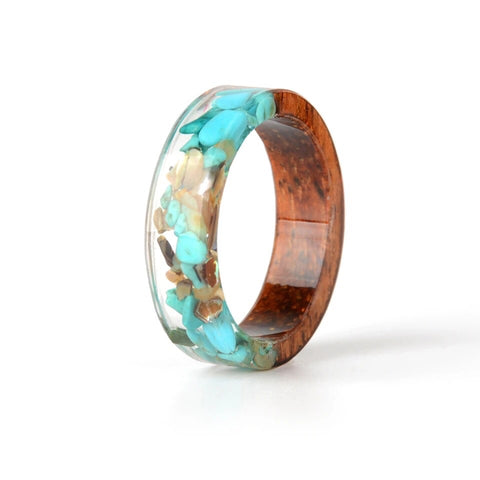 Blue & Earth Stone Resin Ring