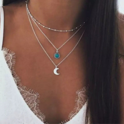 Stone Moon Silver Choker Necklace Set