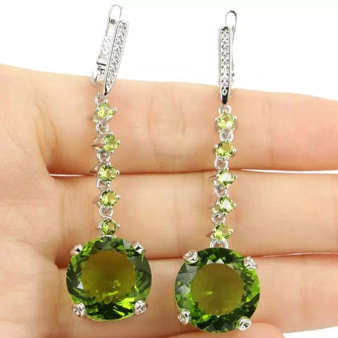 Natural Peridot Round Sterling Silver Drop Earrings
