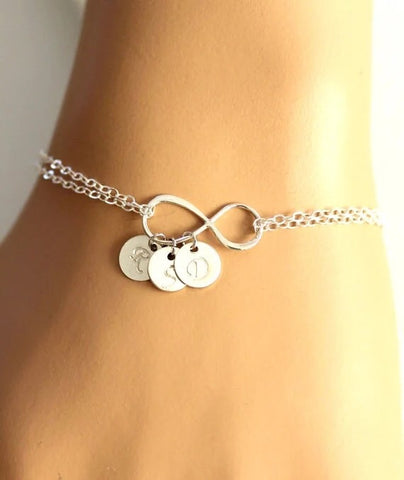Personalised Infinity Monogram Coin Trio Bracelet (2 colour choices)