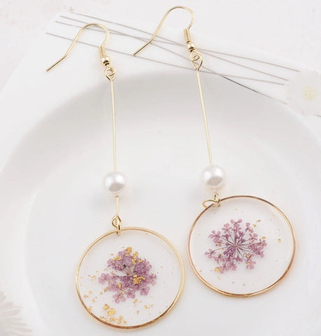 Botanical Flower, Gold Flake & Simulated-Pearl Drop Earrings