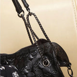 Faux Leather Chain Skull Tote & Bucket Bag Duo