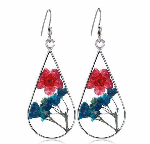 Botanical Flower Glass Earrings