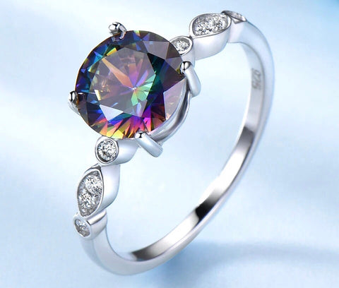 Round Mystic Rainbow Topaz and Cubic Zircon Sterling Silver Ring