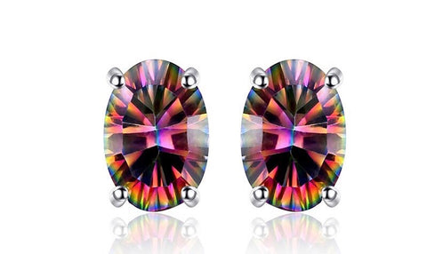 Oval 3.6 ct Rainbow Fire Mystic Topaz Sterling Silver Stud Earrings